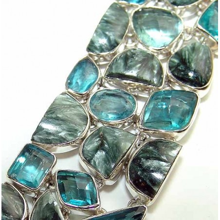 Bracelet with Seraphinite, Blue Quartz Gemstones