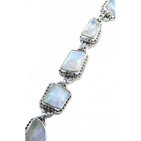 Bracelet with Rainbow Moonstone Cut Gemstones