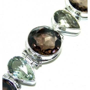 Bracelet with Smokey Quartz, Green Amethyst Gemstones