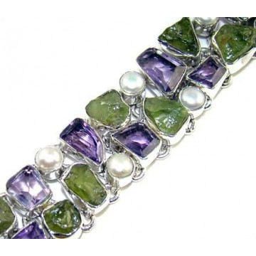 Bracelet with Amethyst Faceted, Peridot Rough, Pearl...