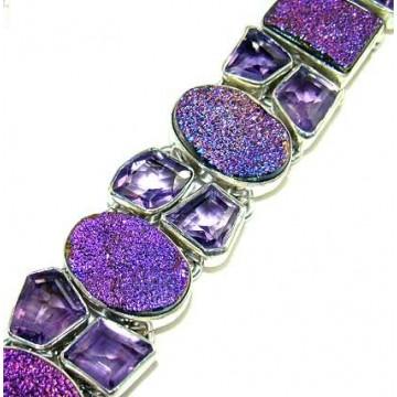 Bracelet with Titanium Drusy, Amethyst Faceted Gemstones