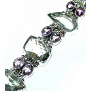 Bracelet with Green Amethyst, Amethyst Faceted Gemstones