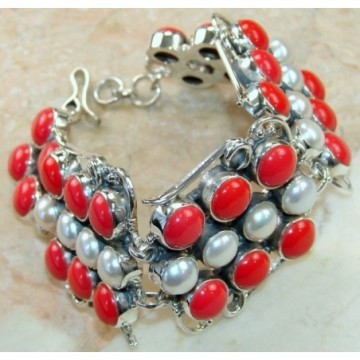 Bracelet with Coral, Pearl Gemstones