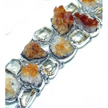 Bracelet with Citrine Drusy, Citrine Faceted Gemstones